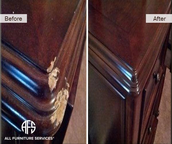 Dresser Top Corner Gouge Shape Restoration Fill In