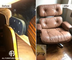 Eames knoll Lounge chair shock rubber connection broken frame repair restoration