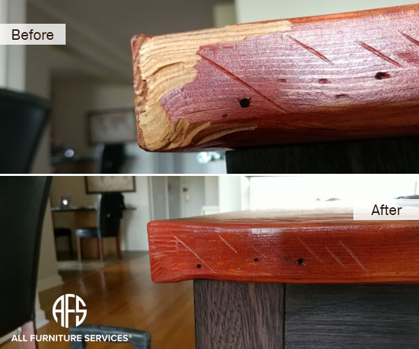Table Wood Top Corner Gouge Chip Chunk Missing Fill Shape Create Color  Match Finish And Paint