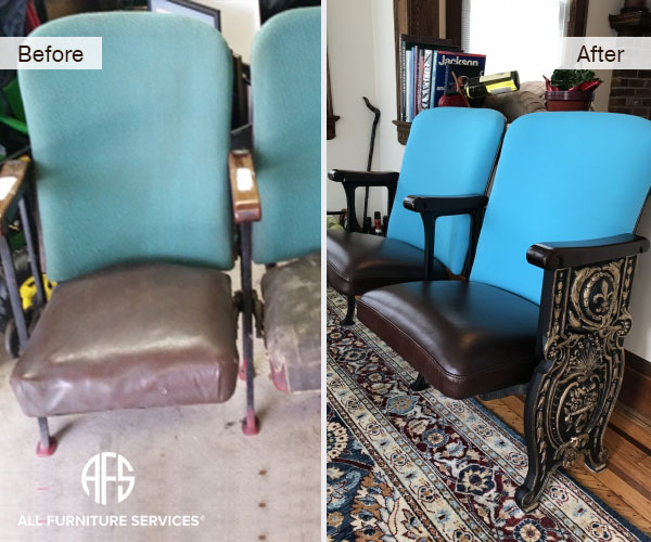 Antique Cinema Movie Recliner Seat Restoration Metal Frame Gold Paint  Details Re Upholstery Fabric Change