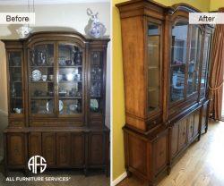 China Buffet Cabinet Restoration Refinishing glass change shelves hardware stain fix