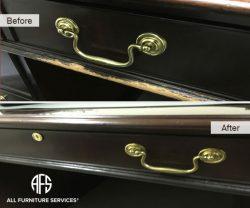 Desk Drawer repair refinishing touch up worn edges maintenance restoration
