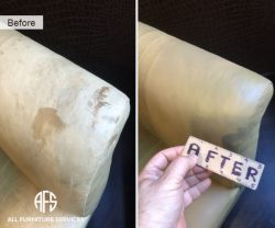 Leather Armchair sofa couch arm repair restoration leather dyeing color enhancing