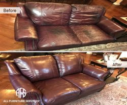 Leather Loveseat adding padding into atatched foam cushion pillows vinyl color matching dyeing conditioning