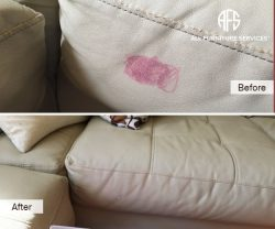 Leather Vinyl Upholstery Cleaning lipstick marker ink stain removal color match dye paint