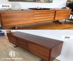 credenza buffet china cabinet media dresser full restoration refinishing painted staining