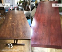office desk conference table wear and tear heat mark water damage scratch damage repair refinishing top color change stain