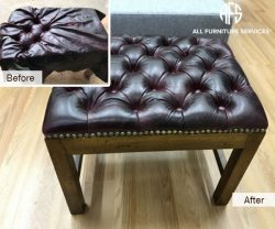 stool ottoman furniture seat tufting leather upholstery buttons nail-heads