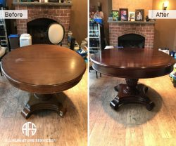 Round Oval leaf wooden table complete top base refinishing staining lacquer