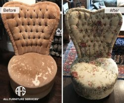 High heart shape tufted back chair reupholstery