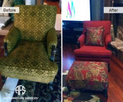 Furniture Chair Ottoman reupholstery fabric change upholstery