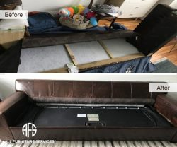 Leather sofa bed couch disassembly disassembling dismantling to fit furniture to tight small door elevator Assemble and reassemble sofa disassemble