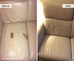 Leather damage repair peeling cut flake discoloration dyeing color match upholstery partial couch