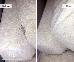 Furniture upholstery seam repair open stitch restoration in-hom service hand work