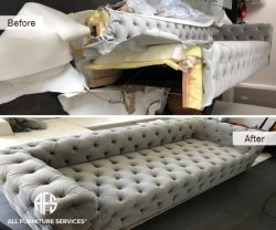 Couch Disassembly Chesterfield Tufted Sofa bed Disassembling Reassembly break down take apart to fit into narrow tight elevator doorway hallway stairway furniture fit problem