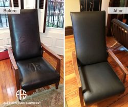 Leather Chair Furniture Reupholstery tear wrinkle padding pipping change material
