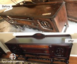 Antique Dresser Credenza refinishing discoloration repair stain lacquer water damage