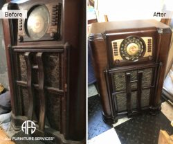 1936 antique radio restoration refinishing glass wood components clean polish color match stain lacquer