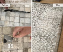 Rug Restoration Cleaning cow hide hair horse zebra tile repair replace restoration edging stitching re-sizing fix pick up delivery on-site