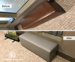 Hotel hospitality restaurant commercial furniture bench chair re-upholstery vinyl color change
