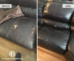 Leather chair sofa seat dog damage re-upholstery partial change color match dye