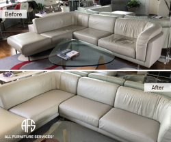 Sectional couch sofa chair seat back padding webbing wrinkles support repair restoration tighten leather