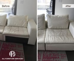 Sectional re-configuration upholstery match color and leather to finish unfinished side converting chaise to chair furniture material