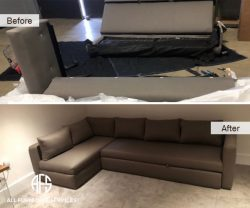 Sectional sleeper re-upholstery disassembly to fit sofabed take apart break down going through narrow stairs
