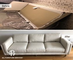 Sofa couch L shape disassembly take apart break down cut fit dismantling sectional moving in and out assistance fit to basement attic tight small elevator