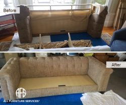 Tufted sofa couch disassembly assembly fit into door elevator stairway attic basement disassembing furniture