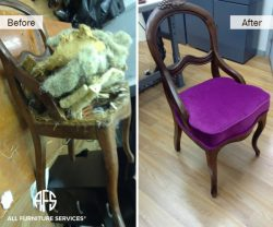 Antique Chair restoration wood refinishing seat re-upholstery fabric change padding webbing coil spring support change