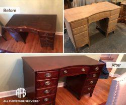 Antique Furniture Desk stripping sanding refinishing restoring polishing hardware handles