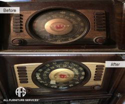 Antique Radio Restoration Cleaning polish brass detail glass furniture case