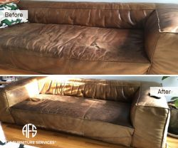 Furniture Leather Seat Repair Reupholstery Partial change color dye match aniline waxed unprotected finished