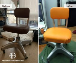 Side Office Chair Repair Re-upholstery vinyl leather padding change