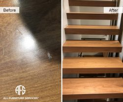 Delivery damage repair hardwood floor steps nicks scratches dents gouges repair fill-in touch up color and finish blend refinish