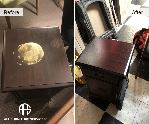 Furniture Side Table Night Stand Refinishing Nail Polish Liqud Stain Mark Corrosion Damage Repair Lacquer