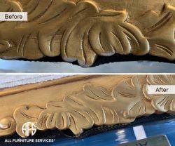 Furniture molding trim rung finial wood gold leaf silver brass bronze metallic finish apply paint
