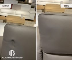 Furniture Leather vinyl upholstery dent pressure mark stretch shrink damage repair heat cure tighten