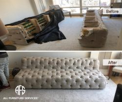 Restoration hadrware tufted sofa couch disassembly reassembly furniture disassembling assembling to fit move