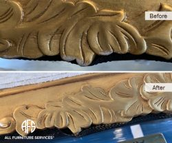 Wood finish gold leaf touch up fill in shape missing recreating