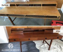 Desk Repair Refinishing Staining Sanding color change refurbishing furniture