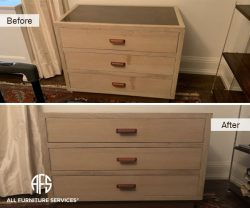 Furniture Bedroom Nightstand Drawer chest front wax stain liquid damage repair clean finish restoring refinishing paper veneer