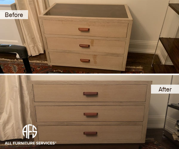 Furniture Bedroom Nightstand Drawer Chest Front Wax Stain Liquid Damage Repair Clean Finish Restoring Refinishing Paper