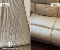 sofa seat leather cracked peeling wear and tear repair dyeing color match
