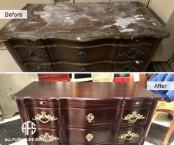Dresser credenza antique damaged furniture top finish refinishing restoring hadware change enhance distress gold handles new shop
