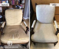 furniture arm chair re-upholstery fabric change replacement antique seat back cushion