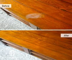 furniture wooden top heat mark water damage repair retard removal refinishing