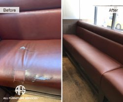 Restaurant Bench re-upholstery in leather color match dye finish change material seat