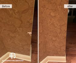 Wall Paper Restoration touch up torn piece fill design patina fix moving delivery damage